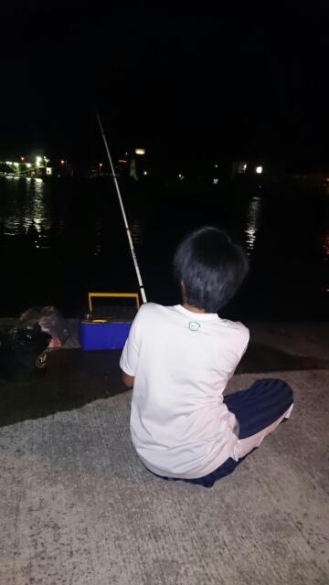 新和歌浦で夜釣り中の息子
