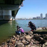 淀川テナガエビ釣り、中学生3人衆
